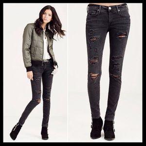 true religion // casey ripped skinny jeans in gray